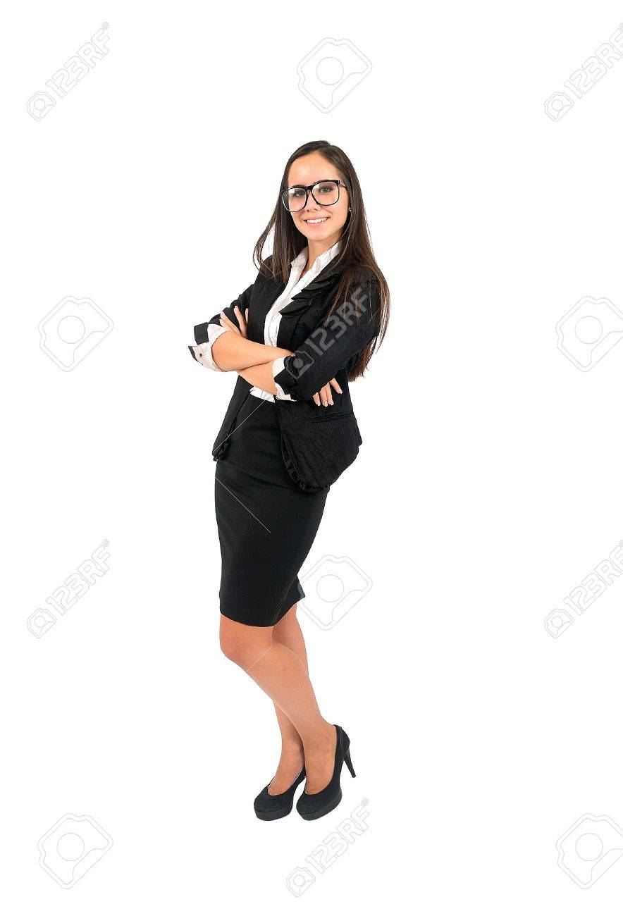 Isolated young business woman standing Stock Photo - 15388044