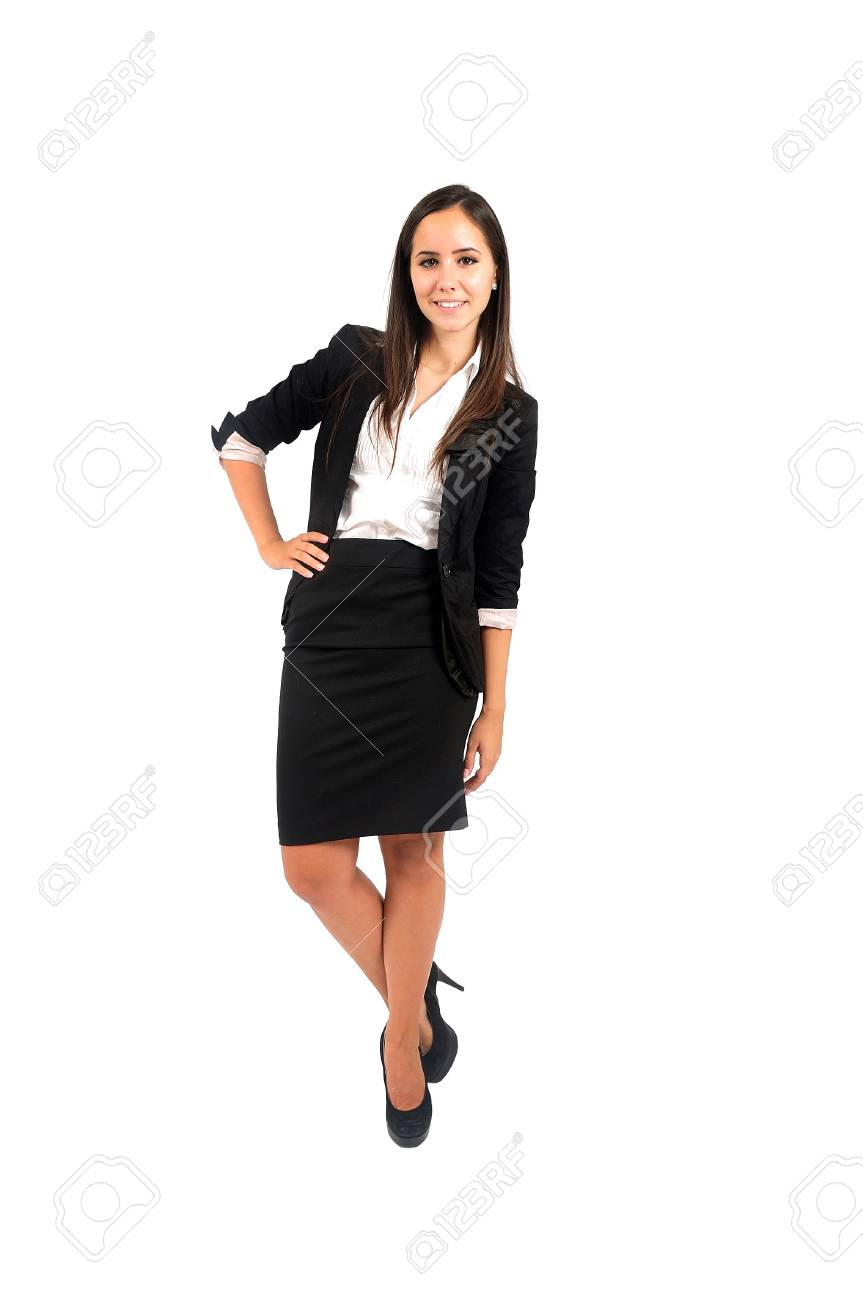 Isolated young business woman leaning Stock Photo - 15388073