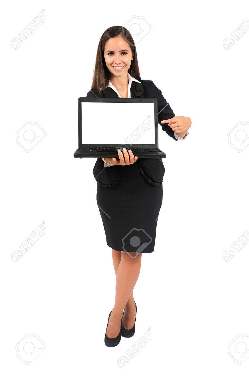Isolated young business woman presenting laptop Stock Photo - 15388113