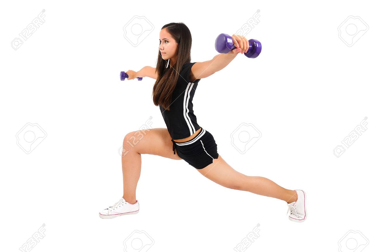Isolated brown hair fitness woman Stock Photo - 15388014