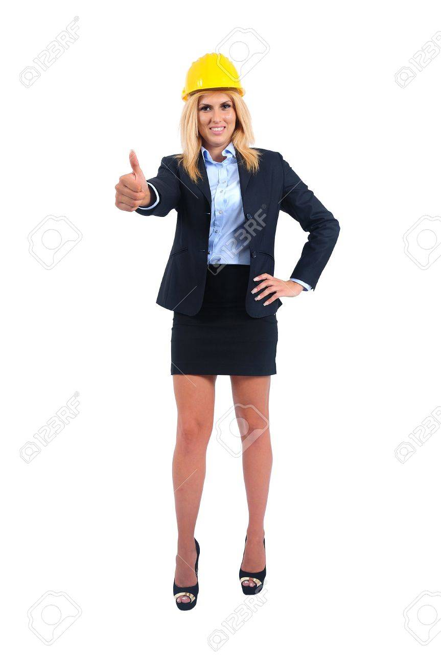 Isolated young business woman approval Stock Photo - 15465455