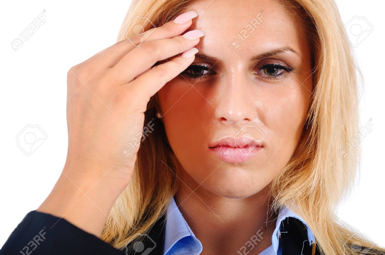 Isolated young business woman headache Stock Photo - 15466056
