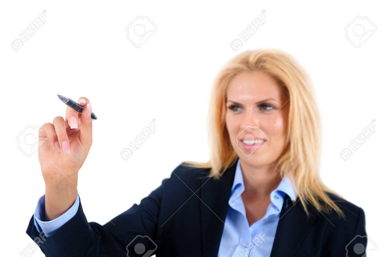 Isolated young business woman writing Stock Photo - 15465951