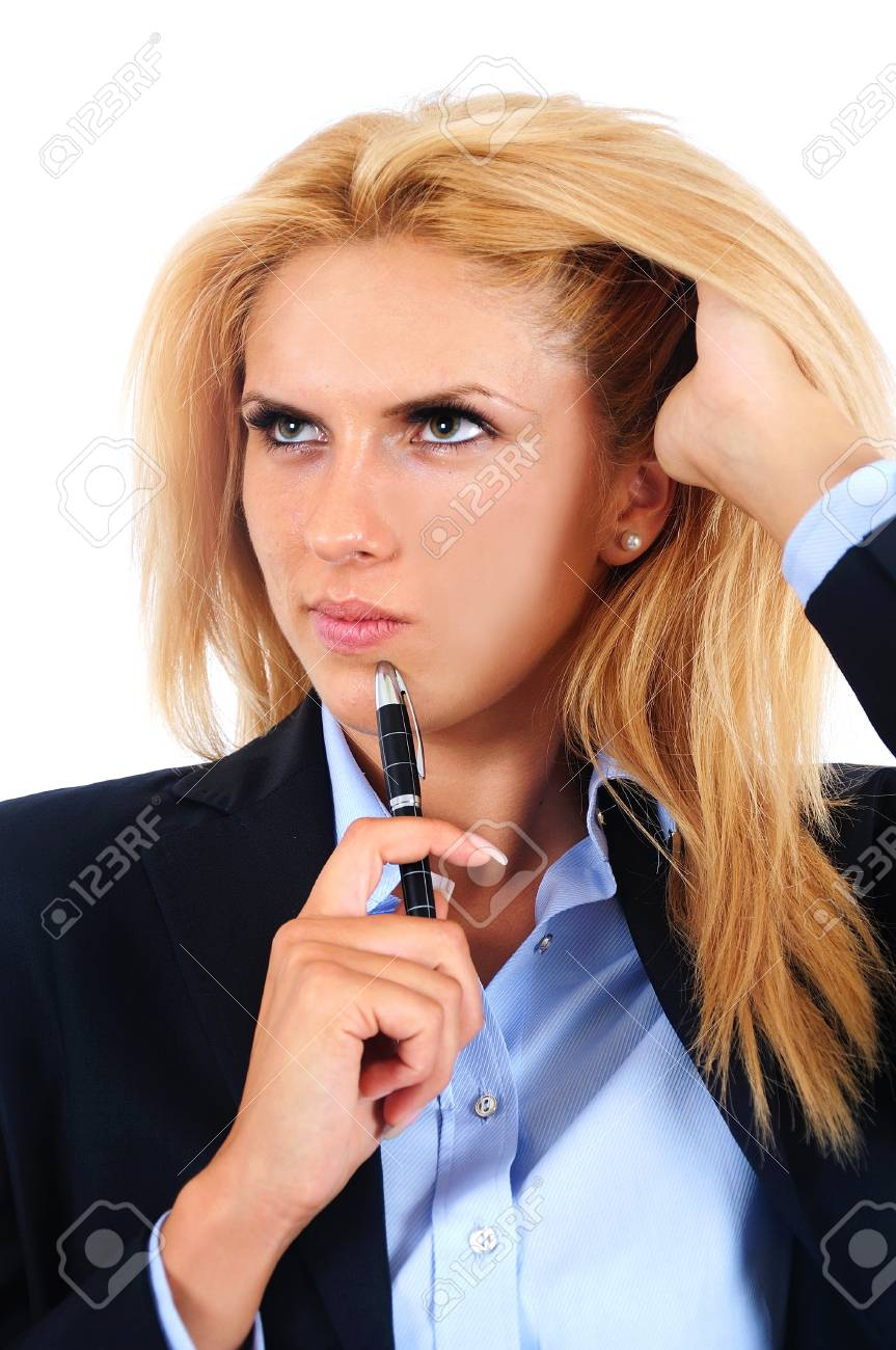 Isolated young business woman thinking Stock Photo - 15466064