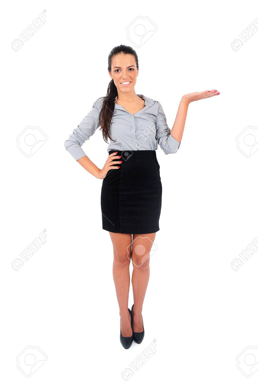 Isolated young business woman showing something Stock Photo - 15649557
