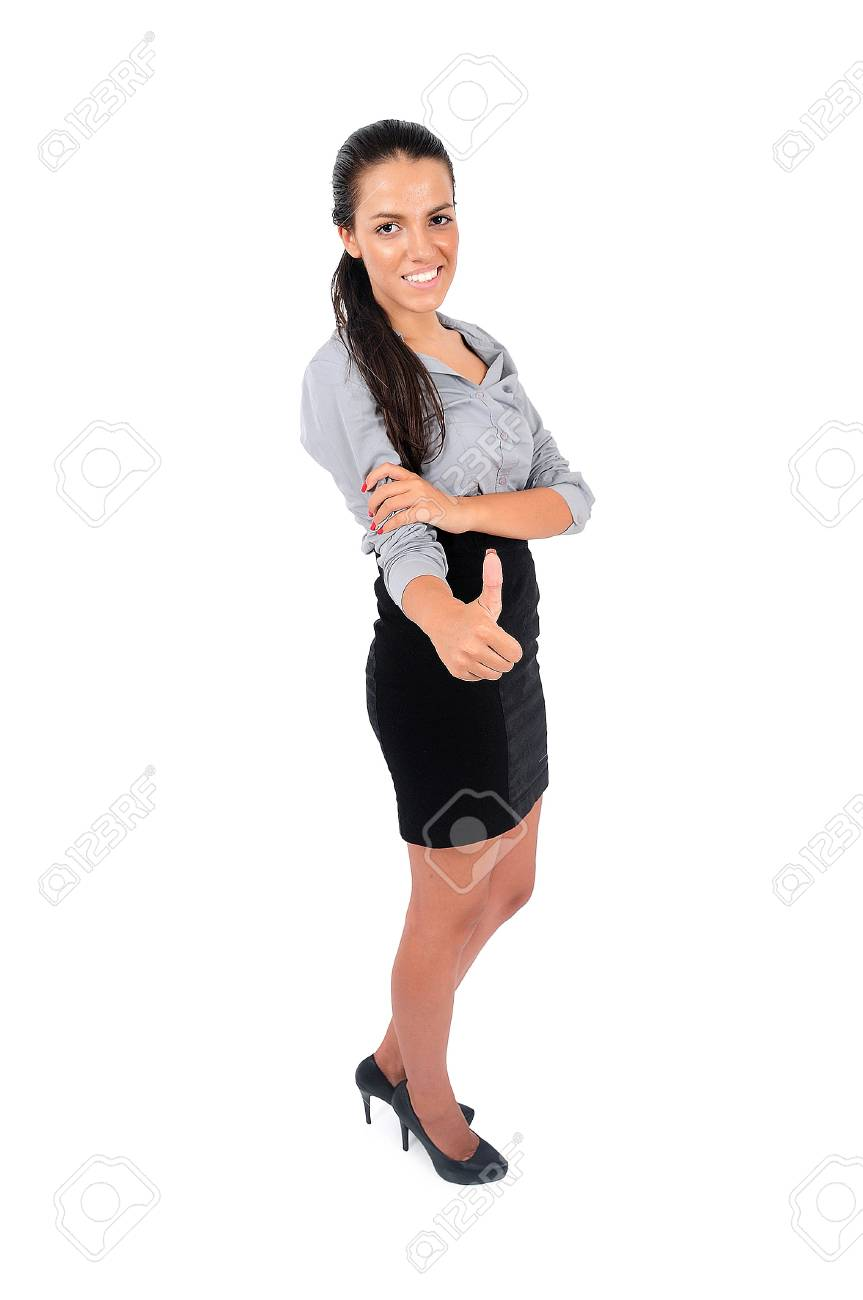 Isolated young business woman approval Stock Photo - 15664905