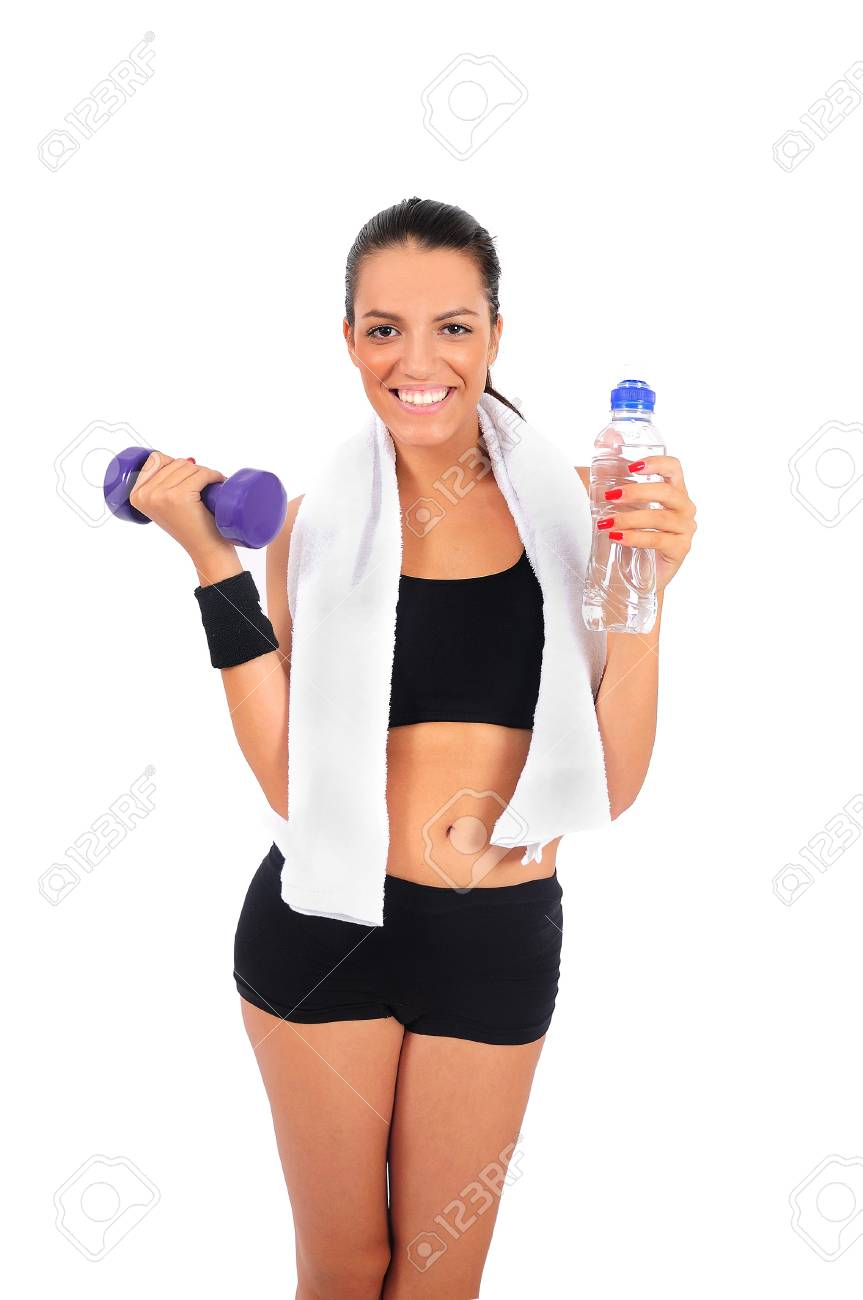 Isolated young fitness woman with dumbbell Stock Photo - 15645960