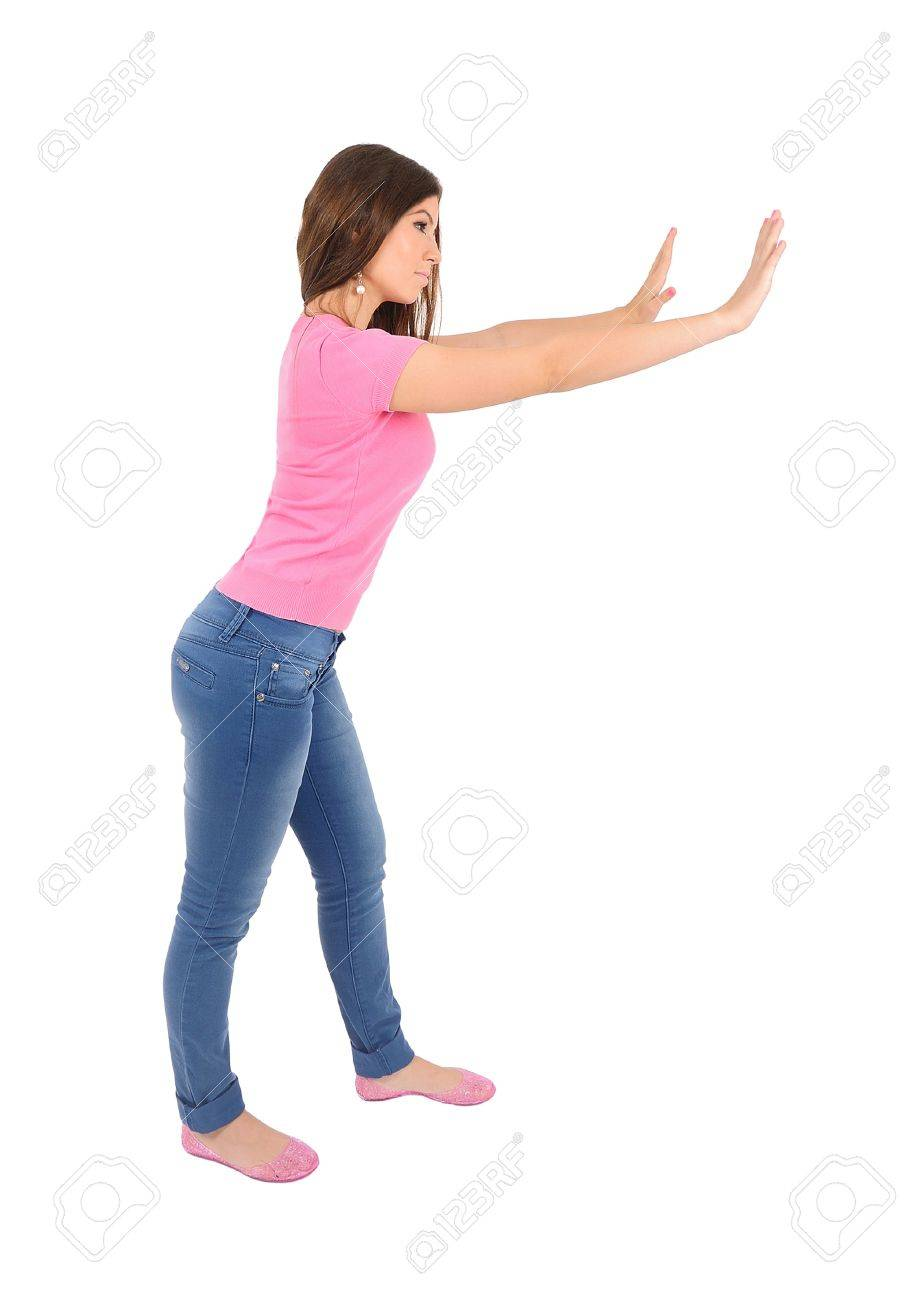 Isolated young casual woman push wall Stock Photo - 16010206