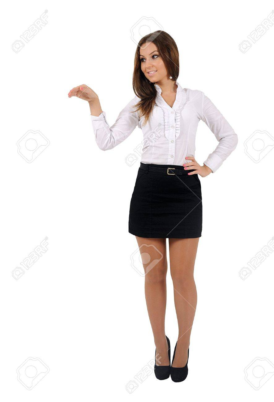Isolated young business woman holding - 16010090