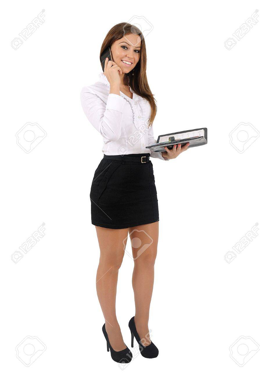 Isolated young business woman Stock Photo - 16010122