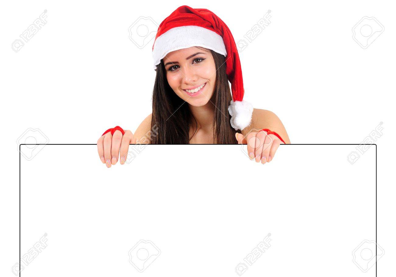 Isolated Young Christmas Girl Holding Banner Stock Photo - 16495118