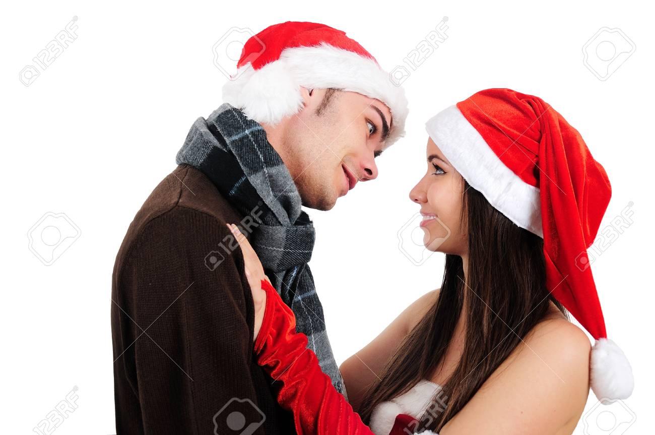 Isolated Young Christmas Couple Kiss Stock Photo - 16518695
