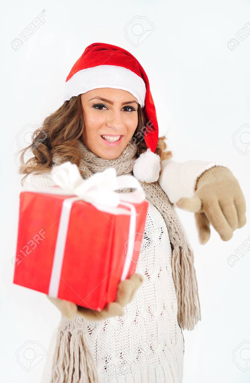 Young girl in christmas suit with gift Stock Photo - 16641086