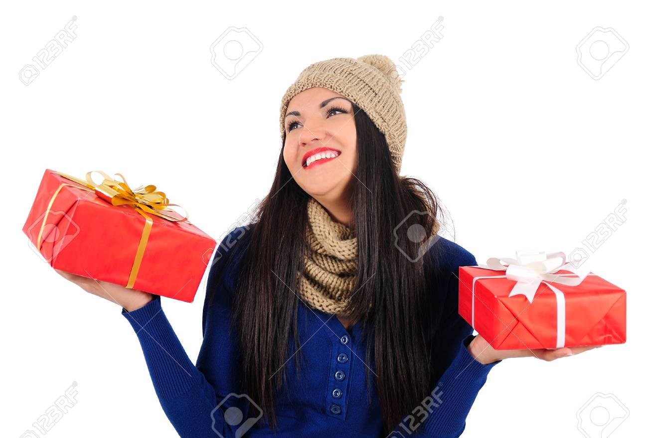 Isolated young casual woman with gift Stock Photo - 16764099