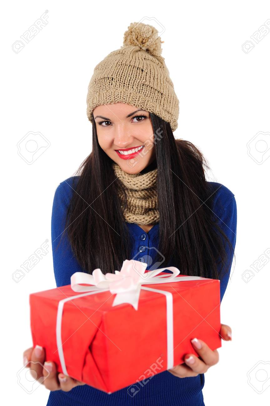 Isolated young casual woman with gift Stock Photo - 16764143