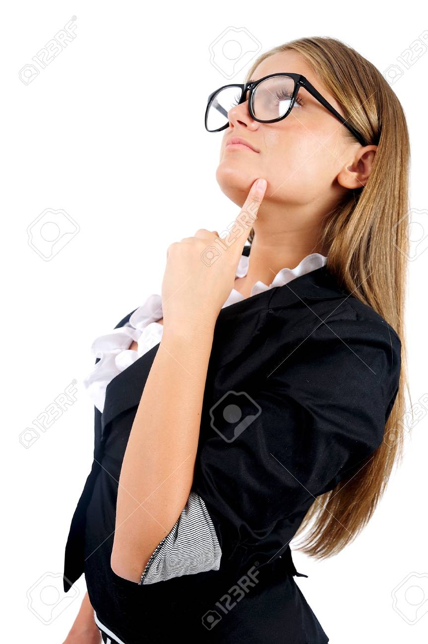 Isolated young business woman thinking Stock Photo - 16865542