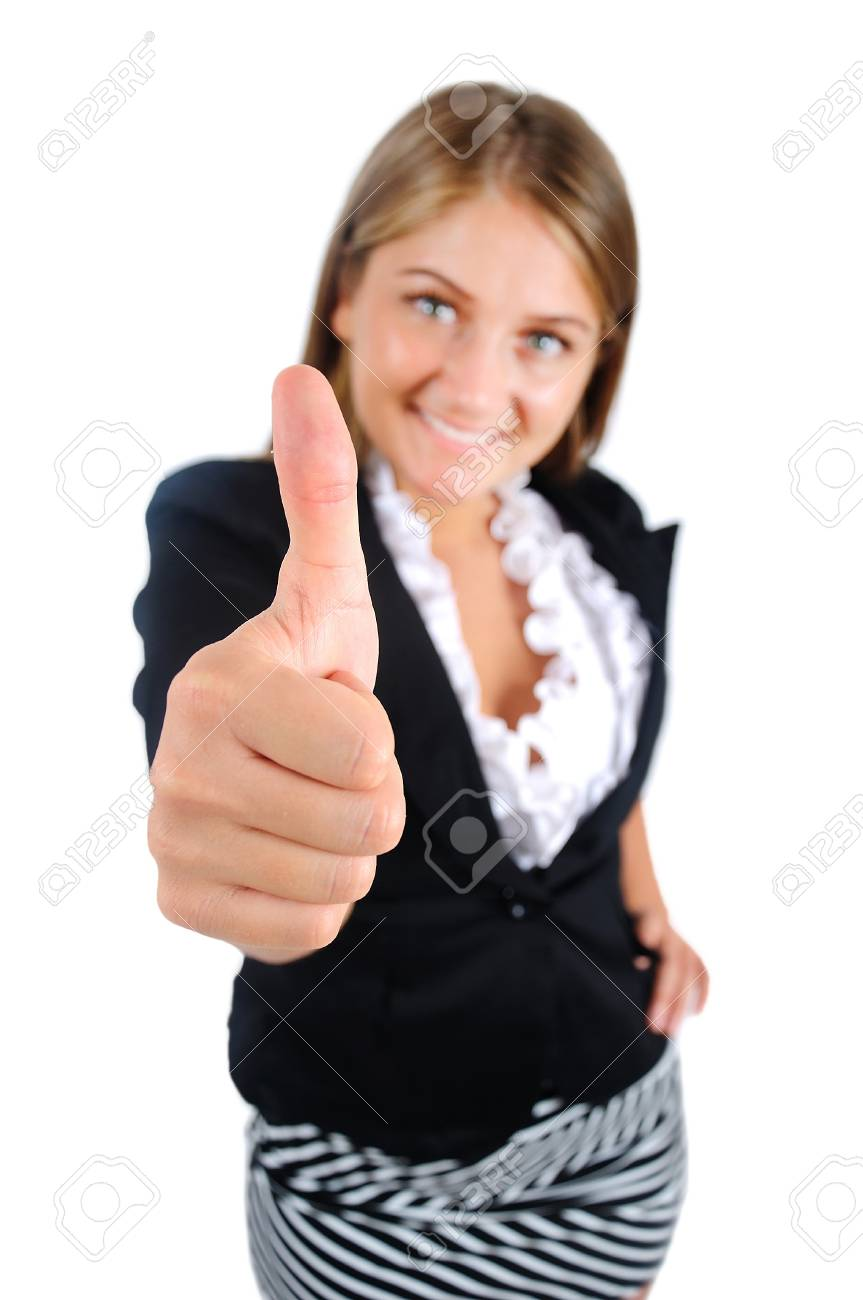 Isolated young business woman agree Stock Photo - 16863878