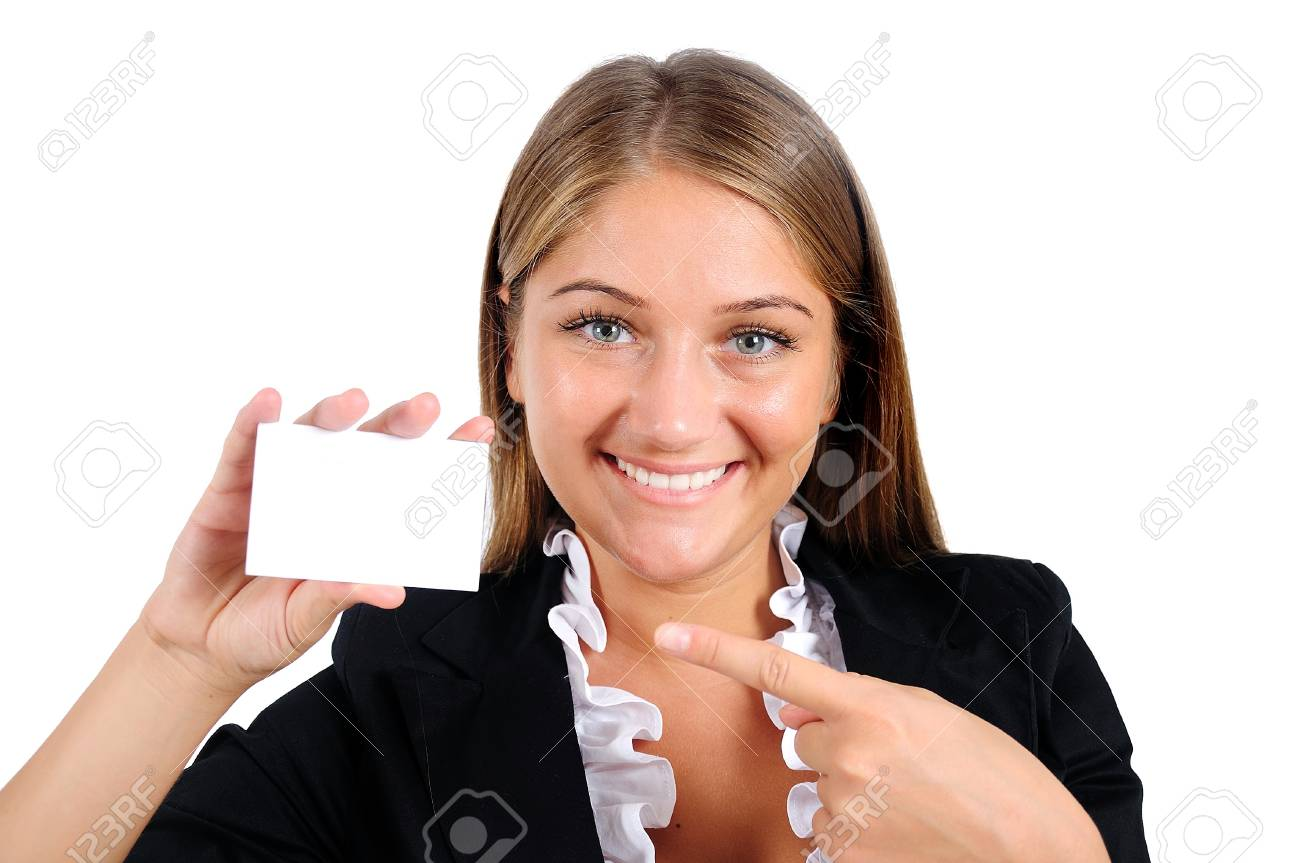 Isolated young business woman showing card Stock Photo - 16864682