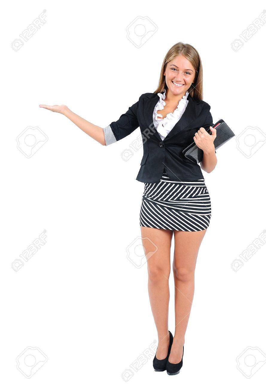 isolated young business woman presenting stock photo picture and