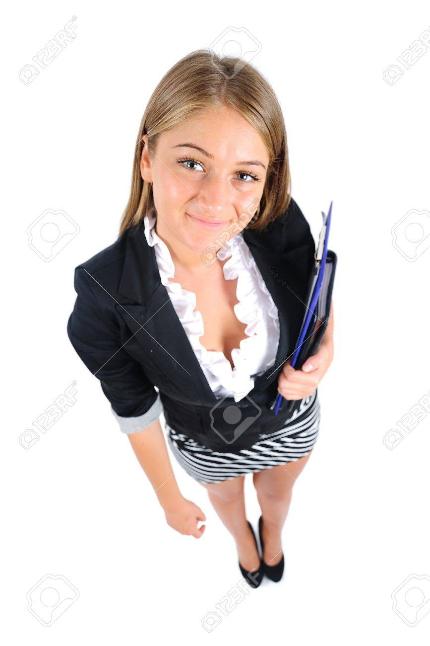 Isolated young business woman standing Stock Photo - 16862966