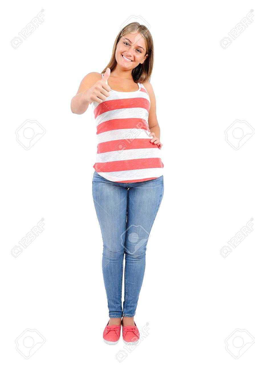 Isolated young casual woman approve Stock Photo - 16862961