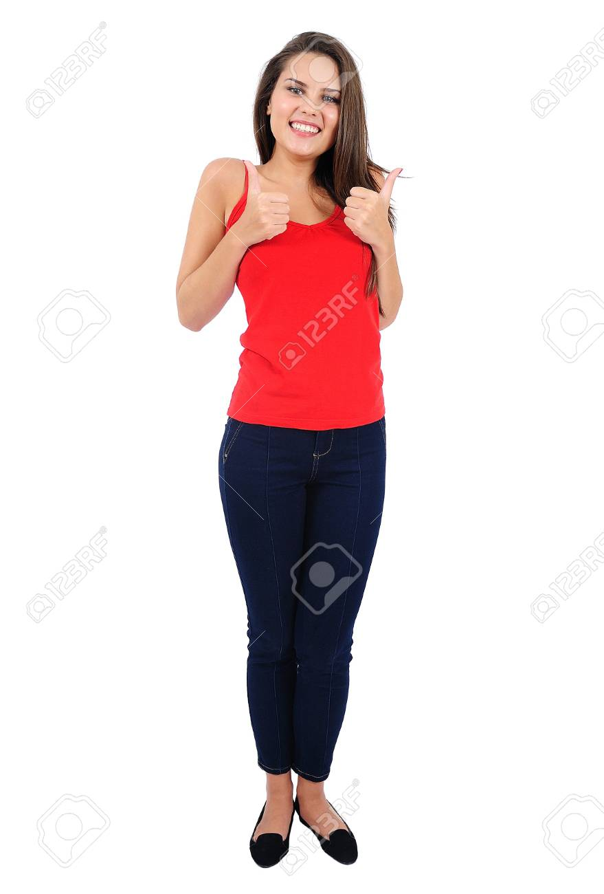 Isolated young casual girl agreement Stock Photo - 16862570