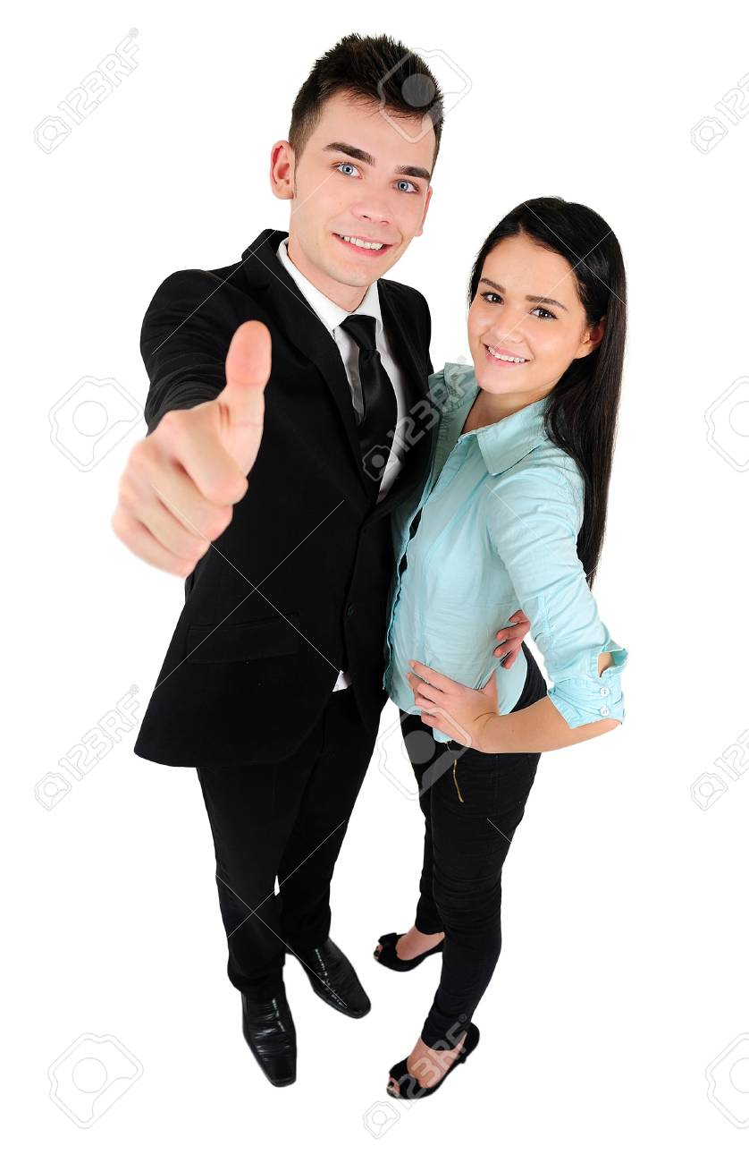 Isolated young business couple approve Stock Photo - 18353178