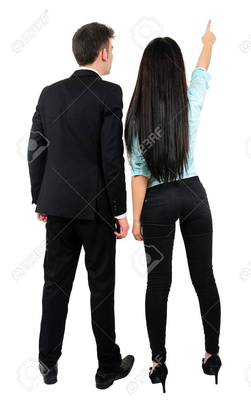 Isolated young business couple pointing Stock Photo - 18353248