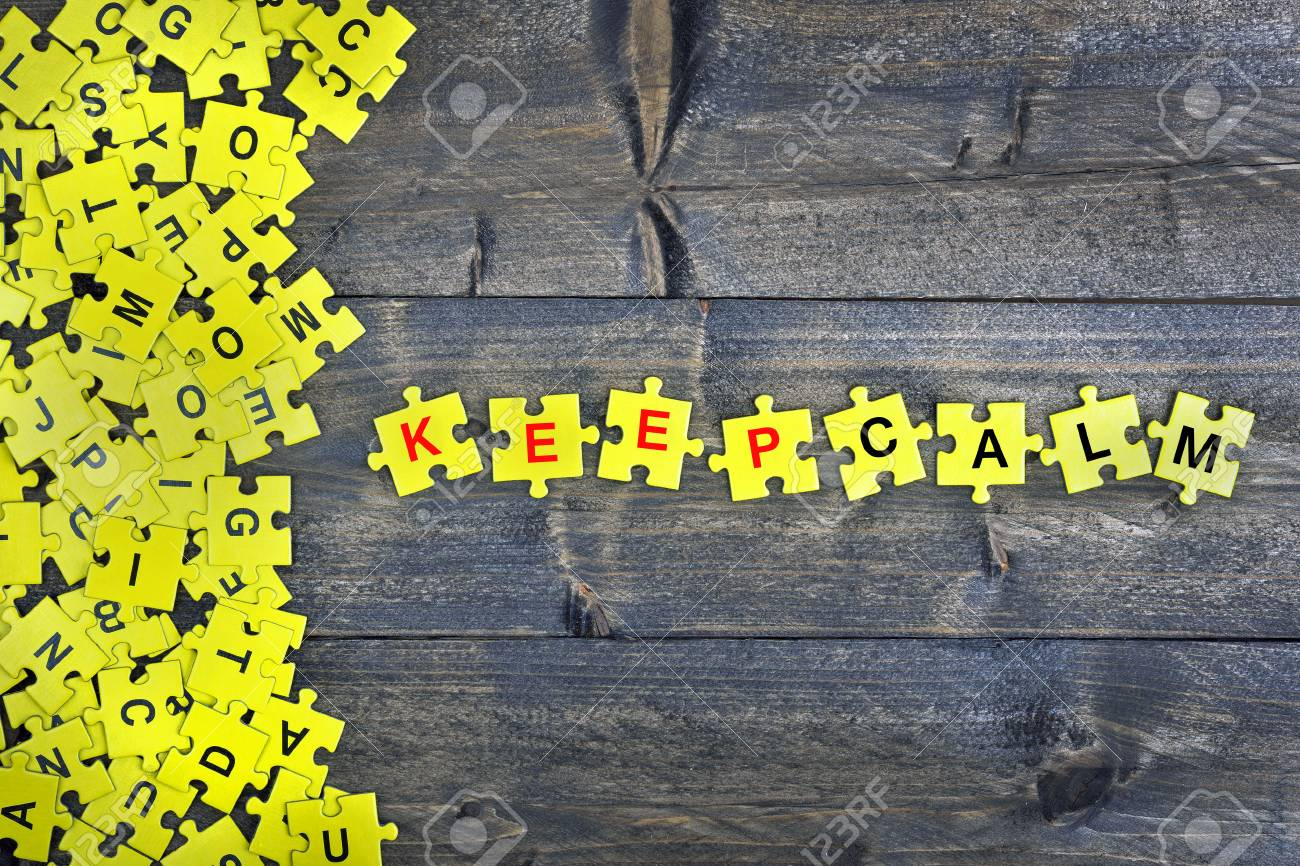 Puzzle Pieces With Word Keep Calm Stock Photo, Picture And Royalty ...