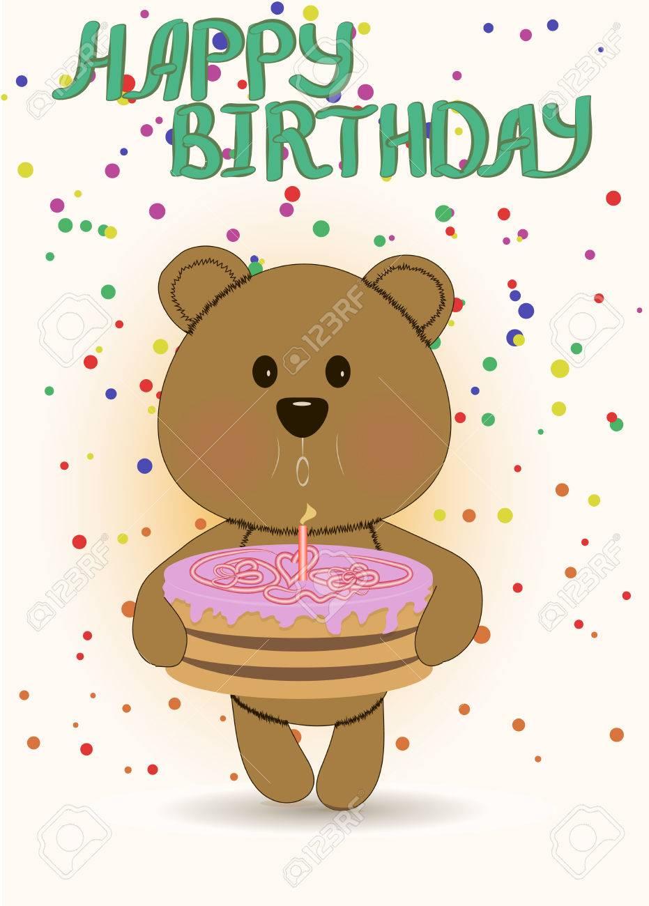 Happy Birthday Card With Cute Teddy Bear Embracing Birthday Cake