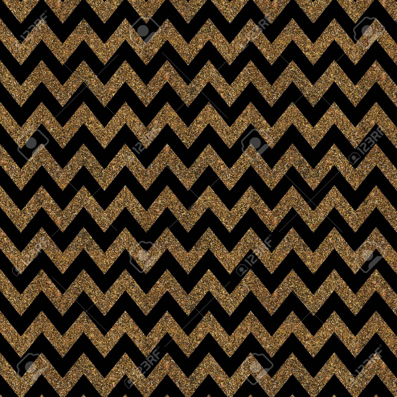 pattern with gold glitter textured chevron print on black background