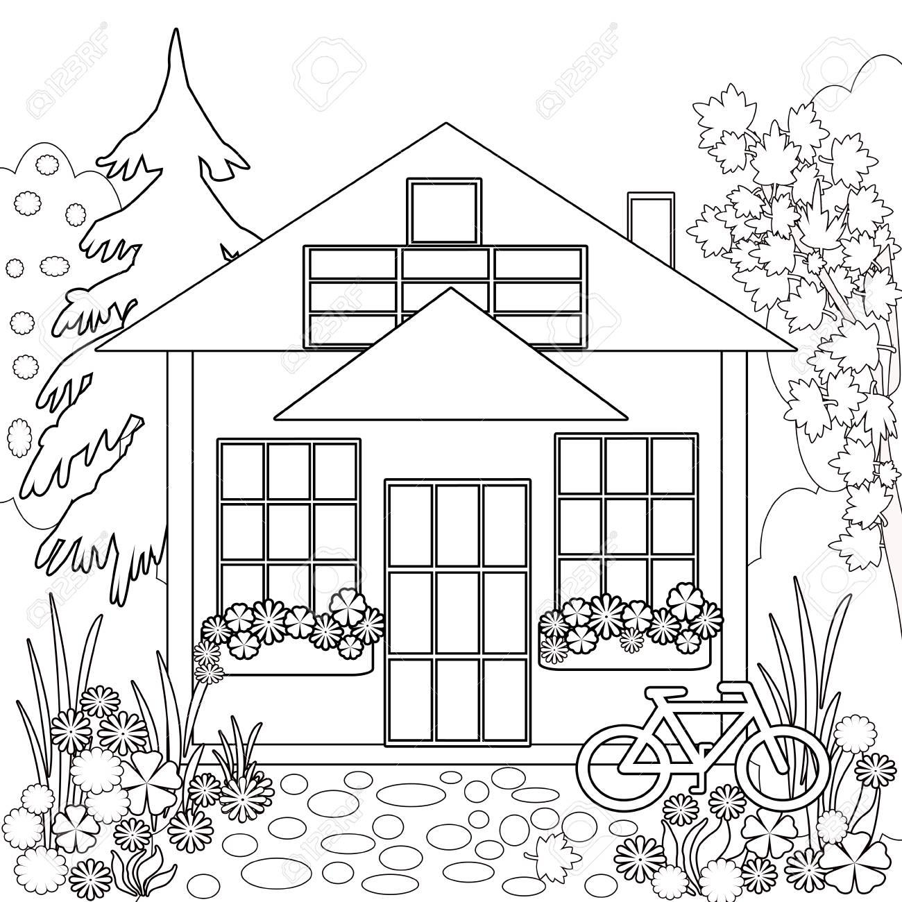 Dibujo Para Colorear Libro. Ilustración Del Jardín De Flores Blanco ...