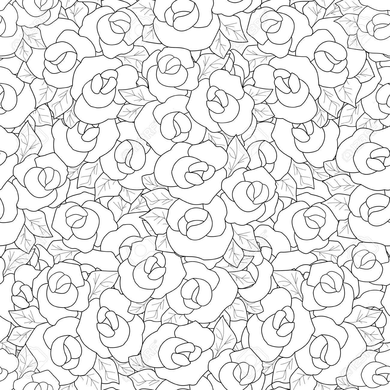 Libro Para Colorear Página Con Rosas Decorativos Ornamentales ...