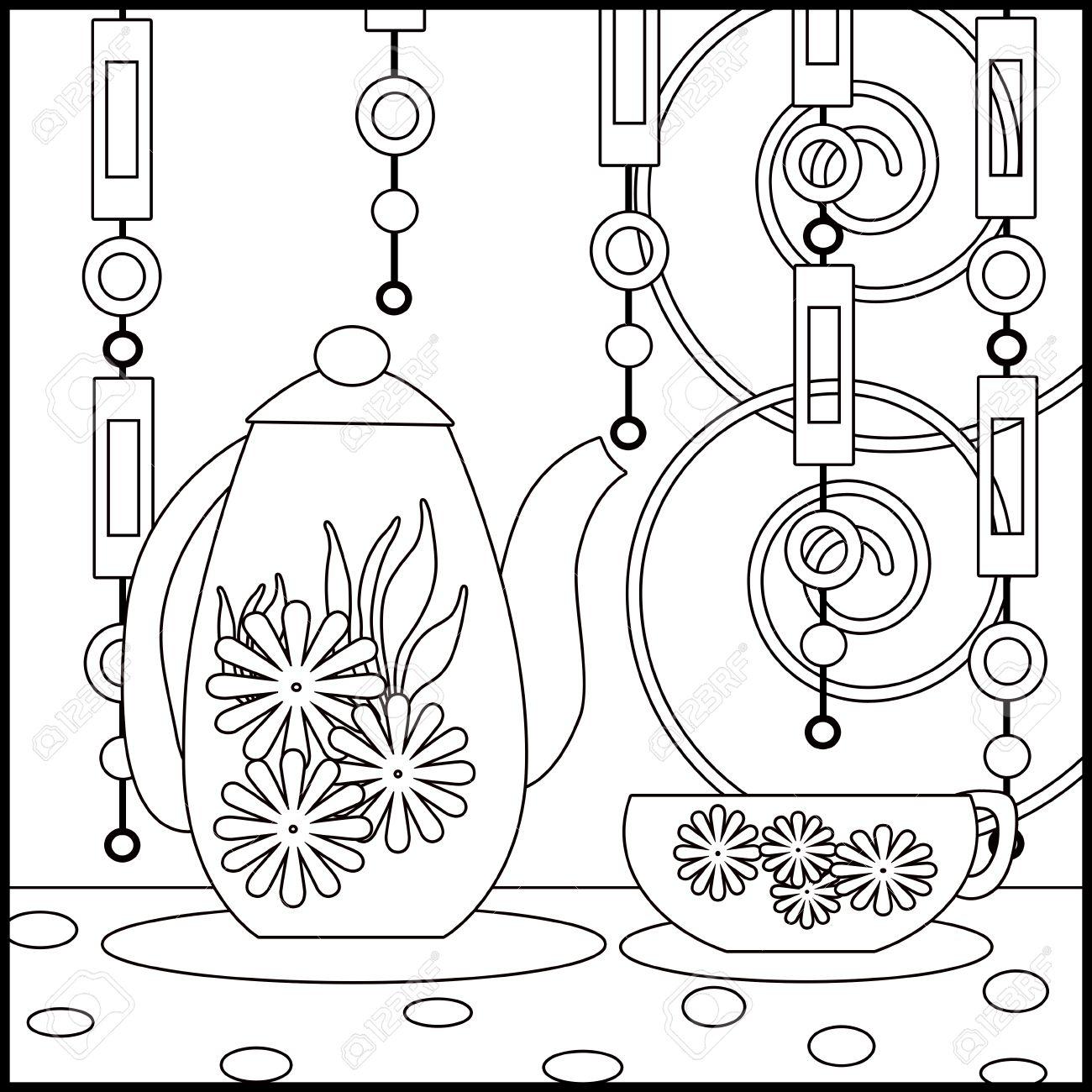 Immagini Stock Priorità Bassa Del Tè Con La Tazza Vaso E Fiori