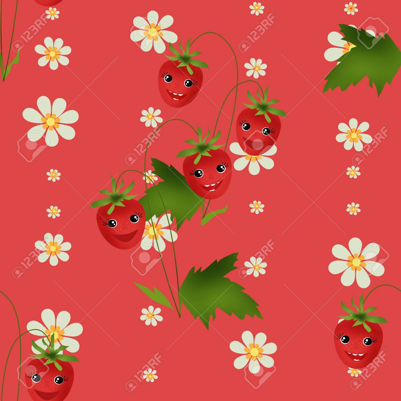Seamless Kids Pattern With Strawberry Cartoon Characters On Red Stock Photo Picture And Royalty Free Image Image 52643462