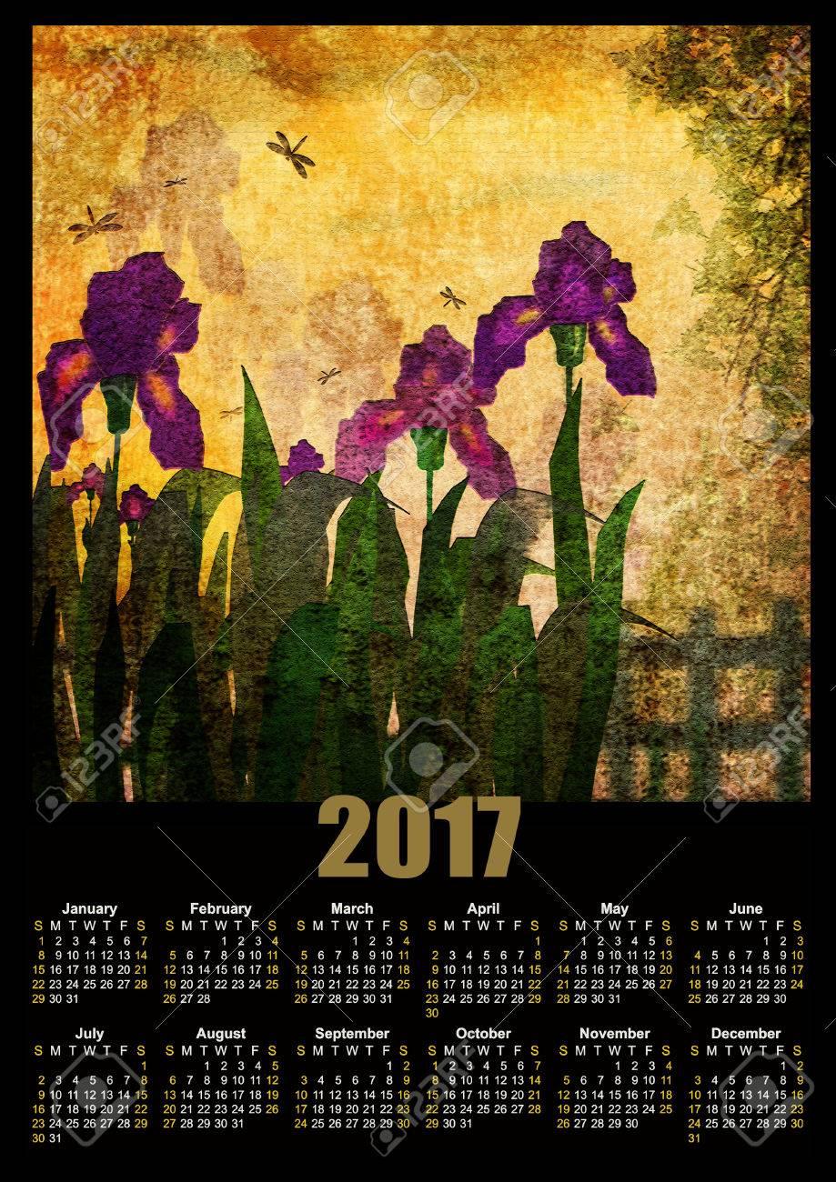 Calendar 2017 template with painting iris flowers on yellow grunge calendar 2017 template with painting iris flowers on yellow grunge vintage background stock photo 61311308 izmirmasajfo