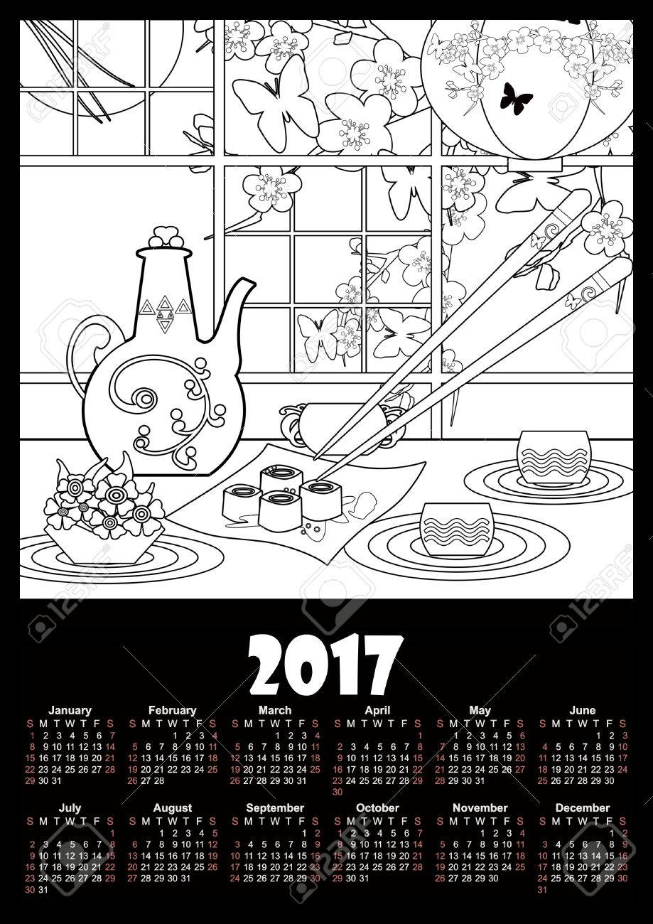 Calendar 2017 Template With Sushi And Flowers Coloring Page For Kids Adults Stock Photo