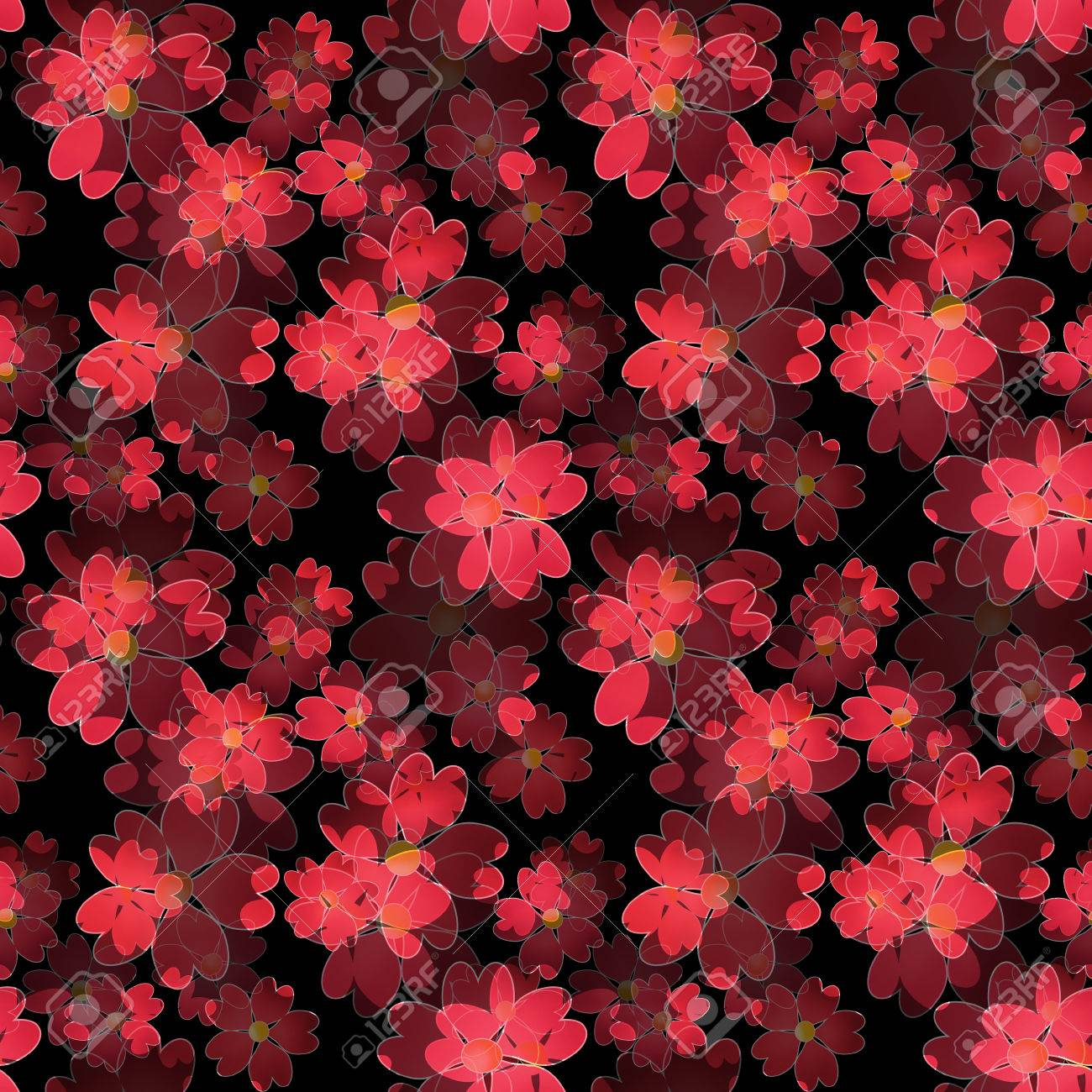 Seamless Floral Pattern Wallpaper Seamless Red Flower Pattern