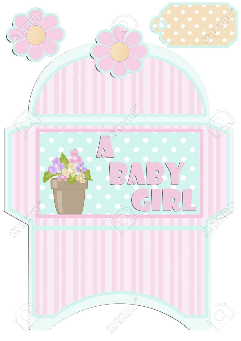 Paper Cut Out Kids Envelope And Tag For Birthday Or Baby Shower