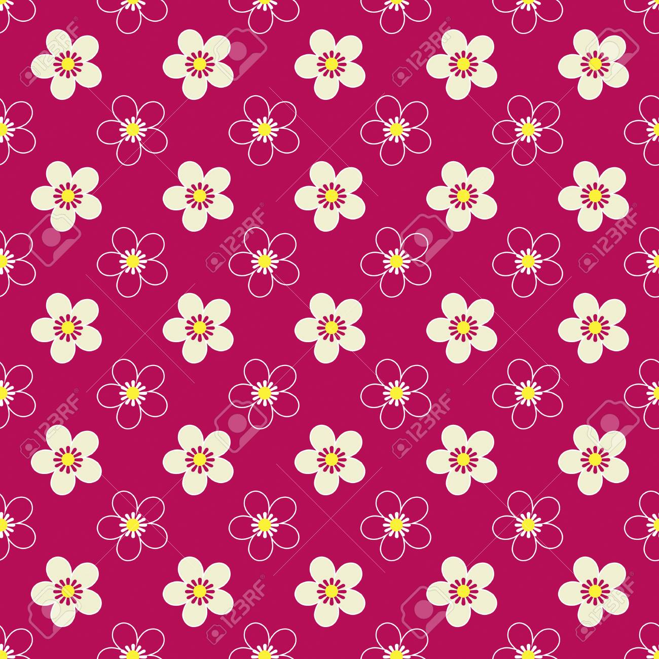 Seamless Floral Kids Bright Pattern On Red Background Stock Photo Picture And Royalty Free Image Image 80704387