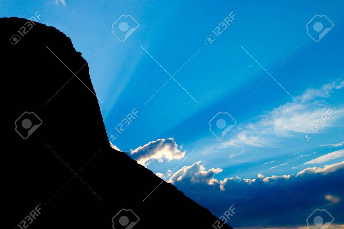 Sun ray in mountains Stock Photo - 554870