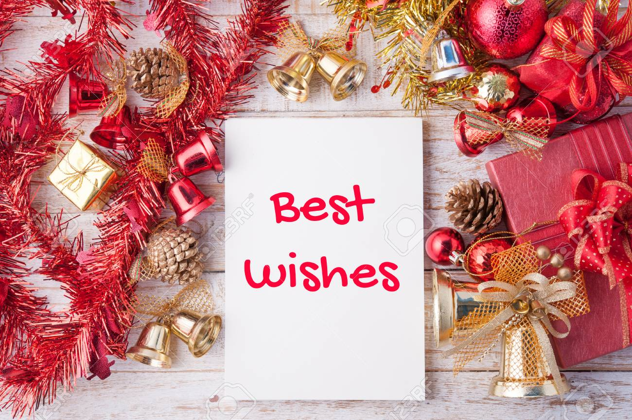 Best Wishes Word On Notebook And Christmas Gift Box With Decorations Stock Photo Picture And Royalty Free Image Image 57582460