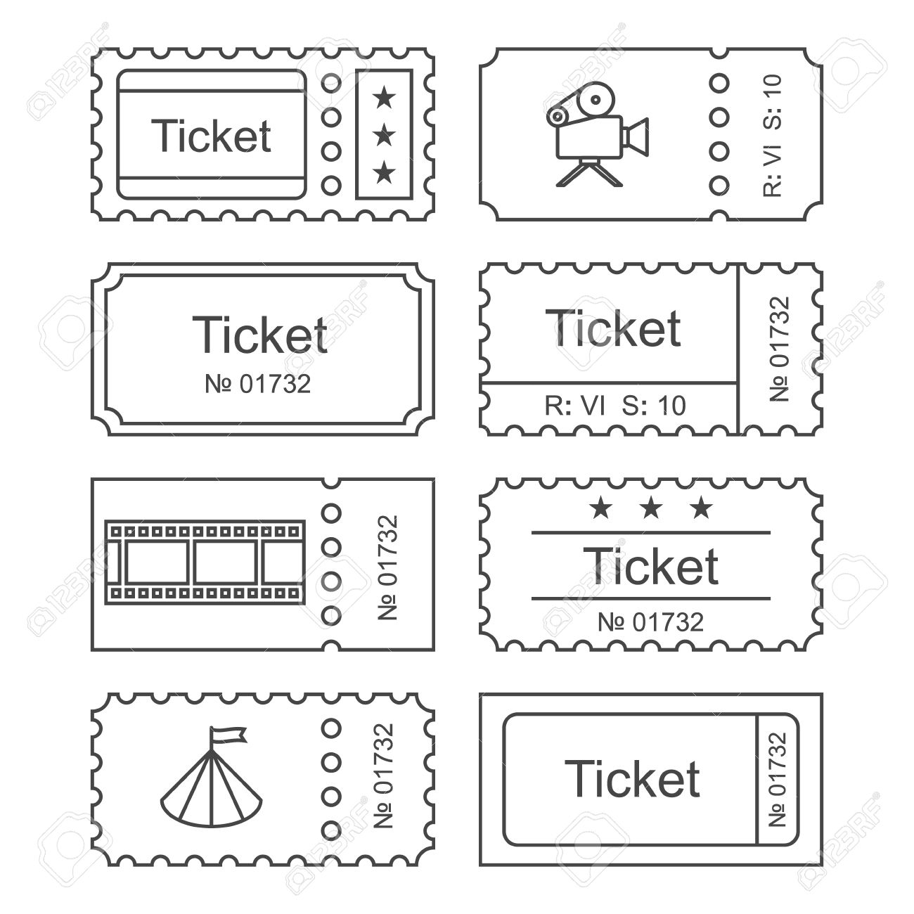 ticket icon in the outline style ticket illustration ticket stub isolated on a background