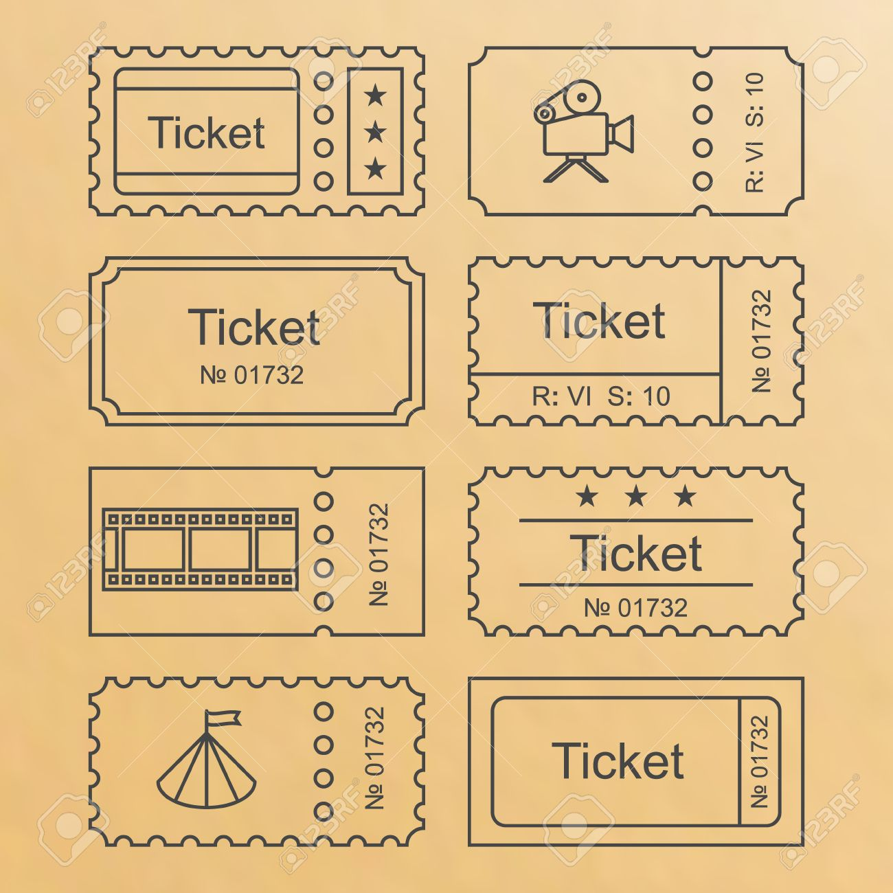 ticket icon in the outline style ticket vector illustration ticket icon in the outline style ticket vector illustration ticket stub isolated on a