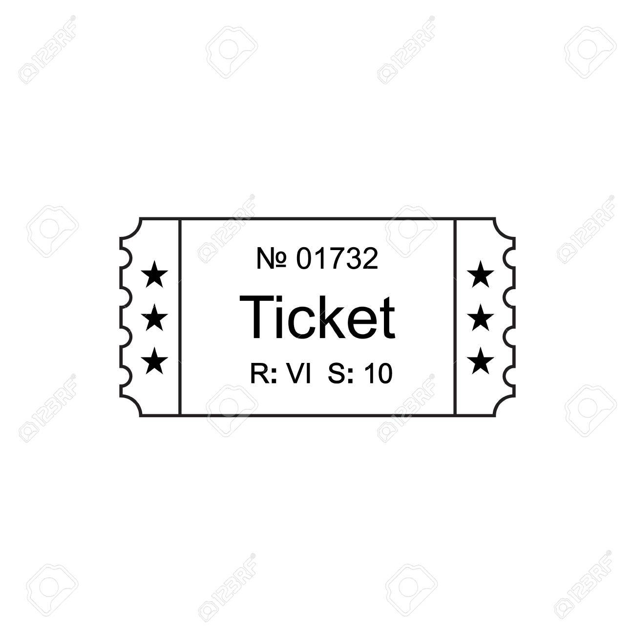 ticket icon in the outline style ticket vector illustration ticket stub isolated on a