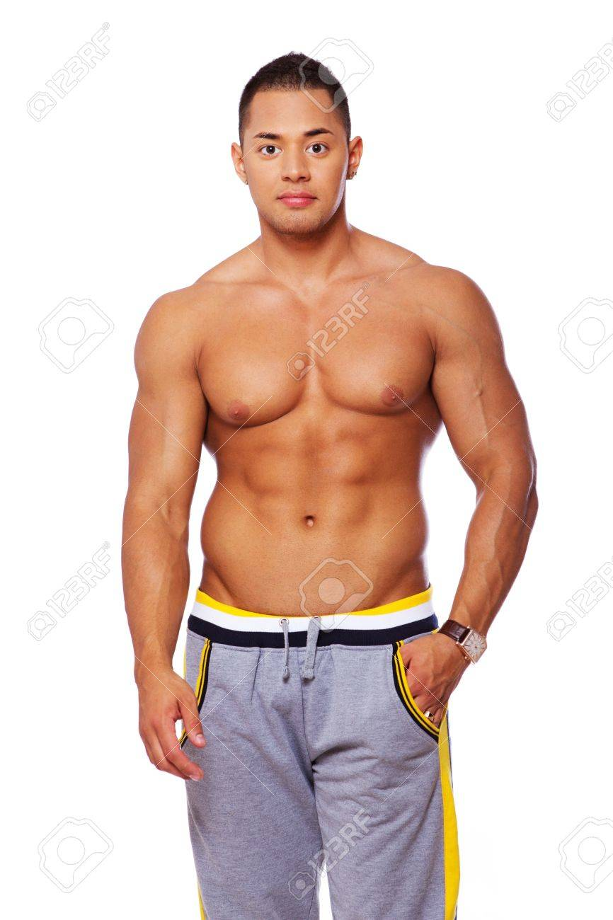 Portrait of muscle man posing in studio in shorts Stock Photo - 17719580