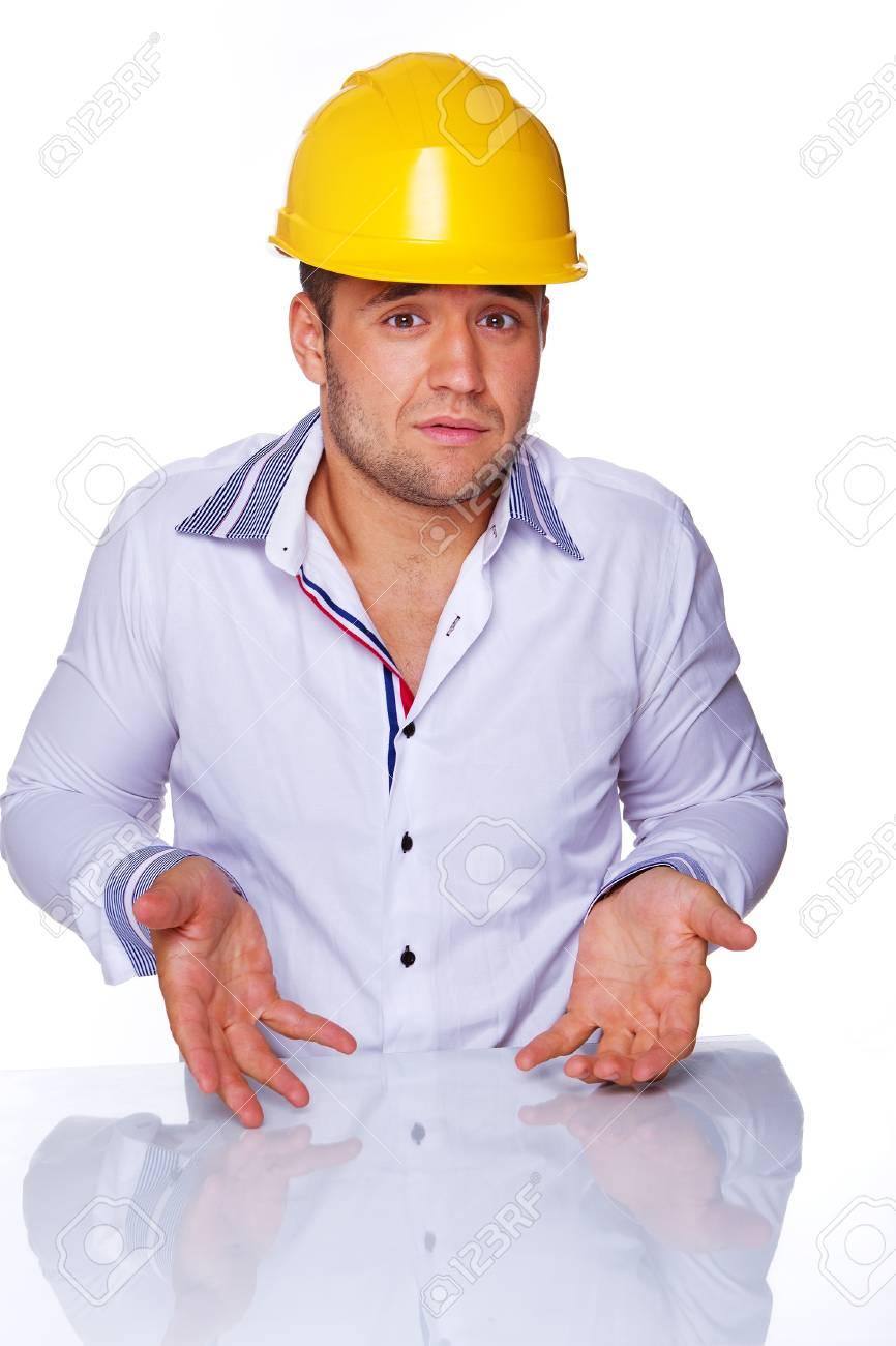 Portrait of handsome engineer posing in studio Stock Photo - 17752877