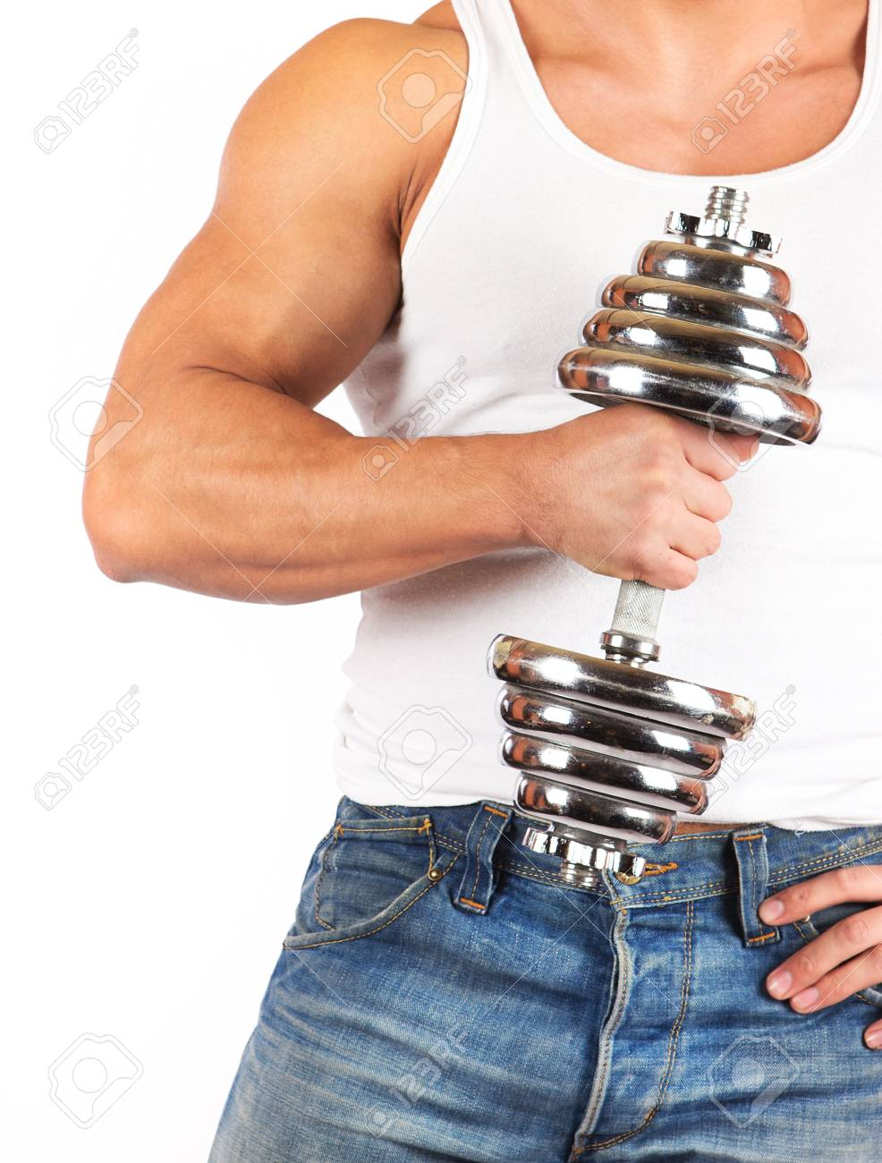 Fitness - powerful muscular man lifting weights Stock Photo - 18208525