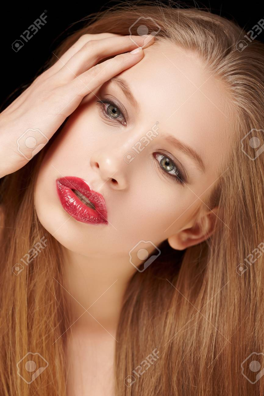 Hairy blond woman with red lips. Stock Photo - 48608156