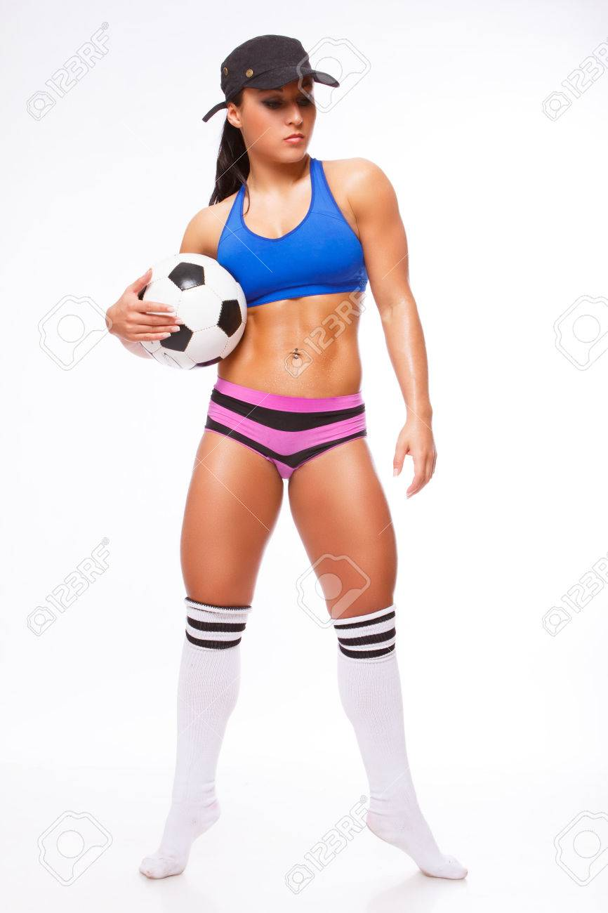 Full Body Picture Of Woman Soccer Player In Colorful Clothes.. Stock ...